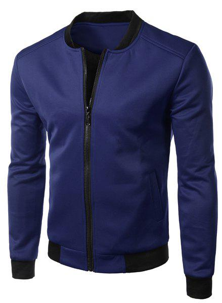 Casual Stand Collar Solid Color Zipper Jacket For Men - CADETBLUE 2XL