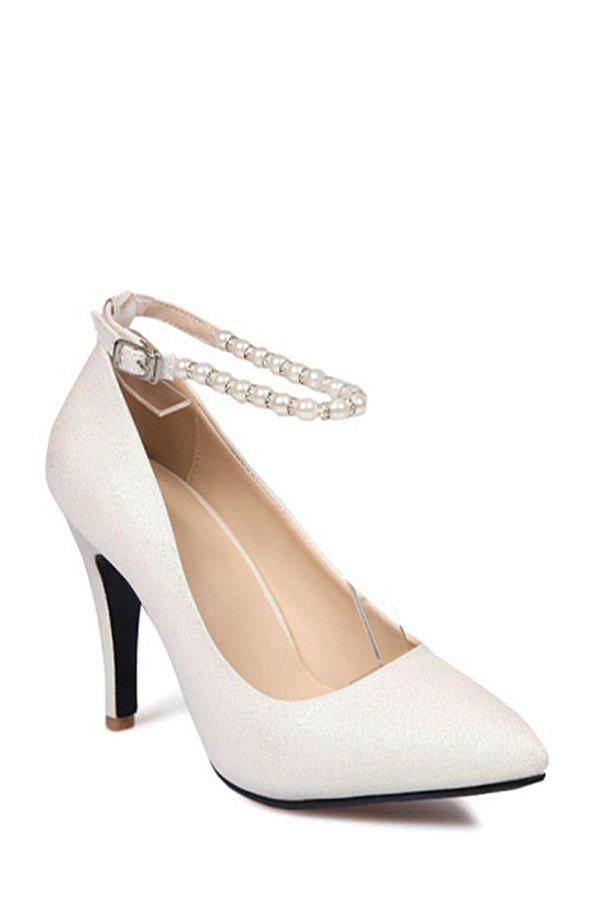 Stylish Beading and Solid Color Design Pumps For Women - WHITE 39