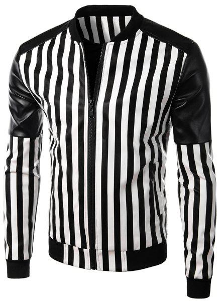 Casual Stand Collar Zipper Stripe PU Leather Jacket For Men - BLACK M