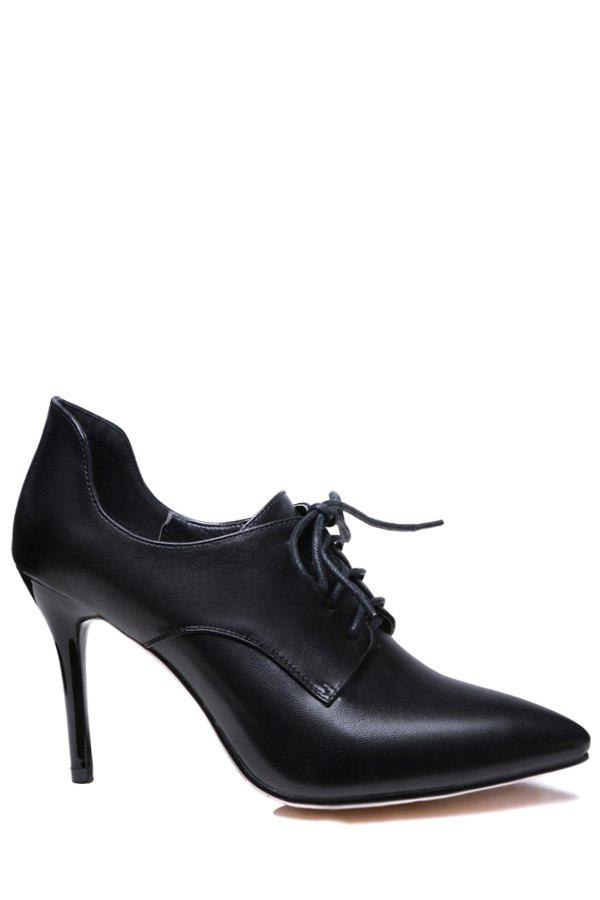 Concise Lace-Up and Pointed Toe Design Pumps For Women - BLACK 37