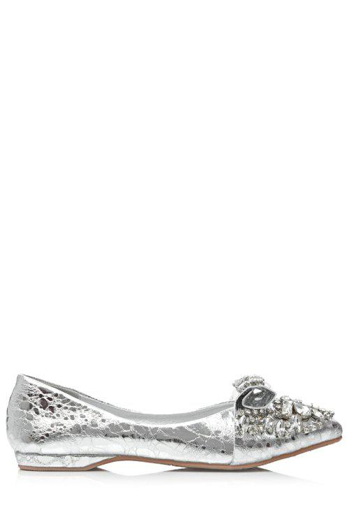 Bling Bling Rhinestones and Solid Color Design Flat Shoes For Women - SILVER 36