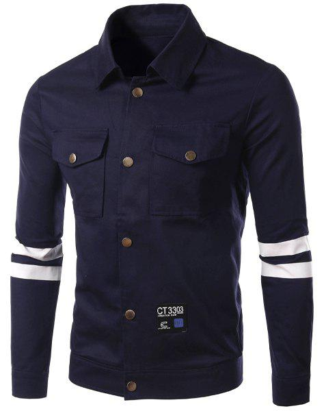 Casual Turn Down Collar Stripe Single Breasted Letter Printed Jacket For Men - CADETBLUE L