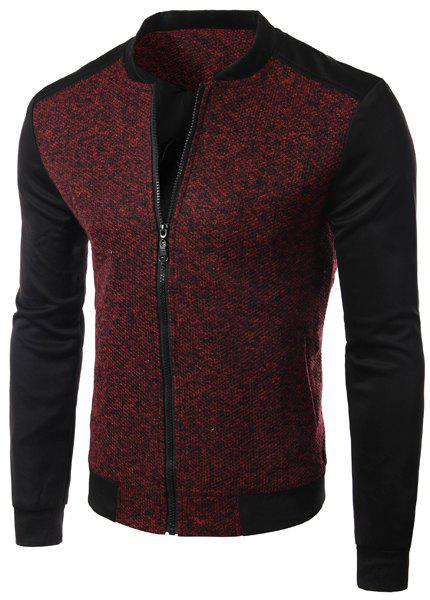 Casual Simple Style Zipper Stand Collar Splicing Jacket For Men - WINE RED M