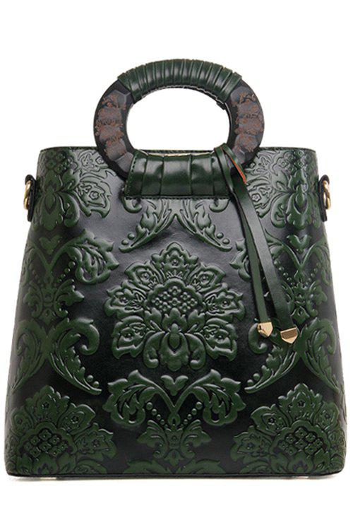 Chinese Style Floral and Embossing Design Tote Bag For Women - GREEN