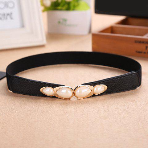 Chic Four Water Drop Shape Faux Pearls Embellished Women's Elastic Waistband - BLACK