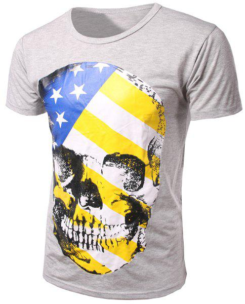 Slim Fit Pullover Round Collar Skull Printed T-Shirt For Men