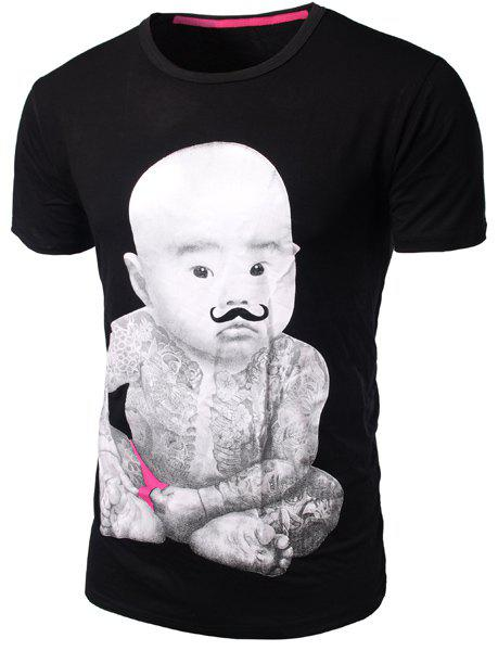 Slim Fit Round Collar Pullover Baby Boy Printed T-Shirt For Men - BLACK M