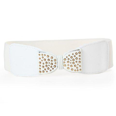 Chic Golden Bead Inlay and Bow Embellished Women's Elastic Waistband - WHITE