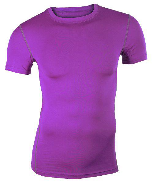 Round Collar Pullover Tights Quick-Dry Solid Color T-Shirt For Men - PURPLE XL