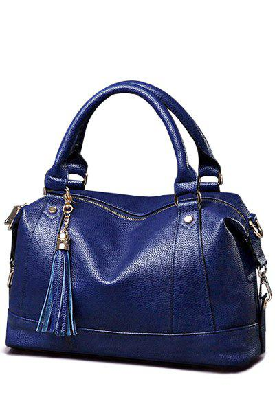 Trendy Tassel and Solid Color Design Tote Bag For Women - BLUE