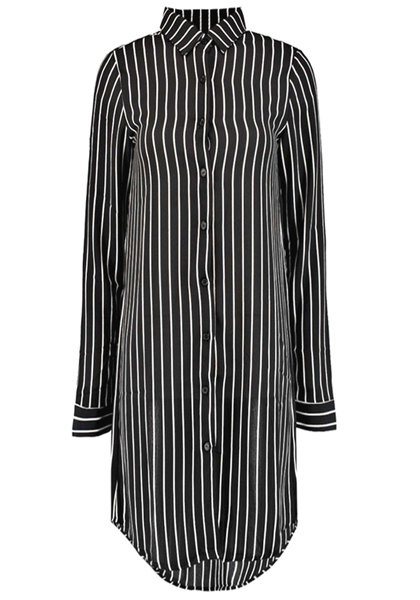 Elegant Shirt Collar Vertical Striped Long Shirt For Women - BLACK M