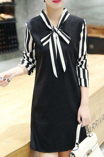 Trendy Spliced Long Sleeve Stripe Women's Dress - BLACK M