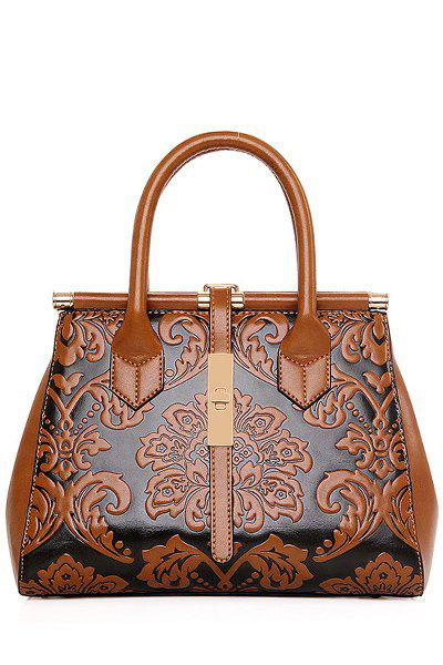 Chinese Style Embossing and Metal Design Tote Bag For Women - BROWN