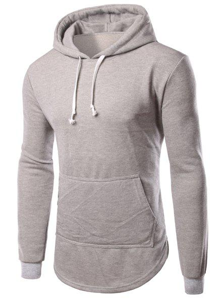 Slimming Long Sleeves Solid Color Side Zipper Hoodie For Men - LIGHT GRAY M