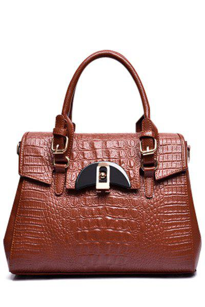Trendy Crocodile Print and Hasp Design Tote Bag For Women - BROWN