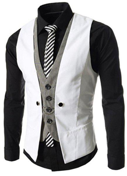 Single Breasted Color Block Faux Twinset V-Neck Sleeveless Men's Waistcoat - WHITE 2XL