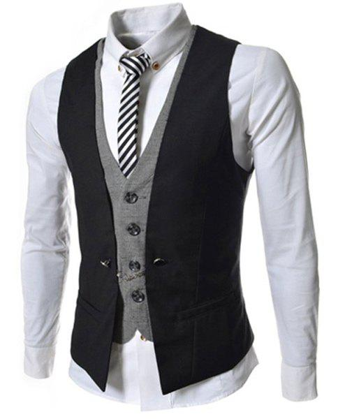 Single Breasted Color Block Faux Twinset V-Neck Sleeveless Men's Waistcoat - BLACK 2XL