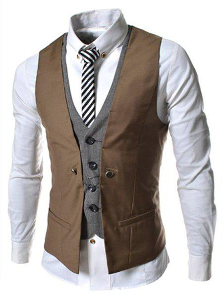Single Breasted Color Block Faux Twinset V-Neck Sleeveless Men's Waistcoat - BROWN L