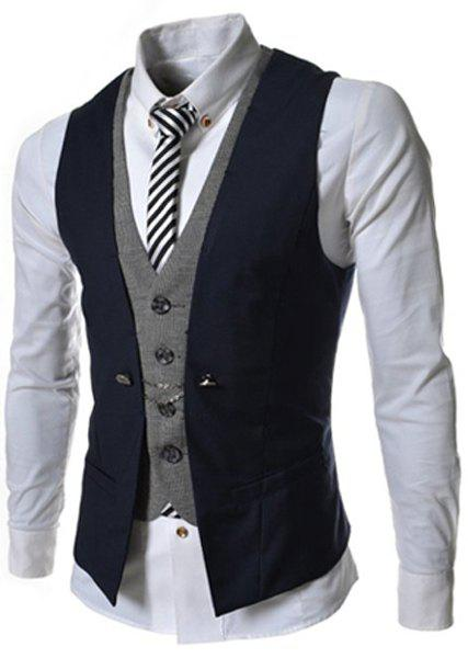 Single Breasted Color Block Faux Twinset V-Neck Sleeveless Men's Waistcoat - CADETBLUE M