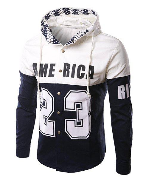 Casual Slim Fit Letter Number Printed Single Breasted Hoodie Jacket For Men - CADETBLUE L