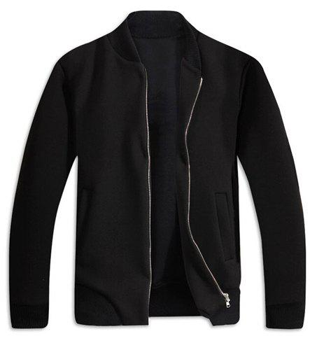 Stand Collar Long Sleeve Rib Splicing Solid Color Jacket - BLACK M