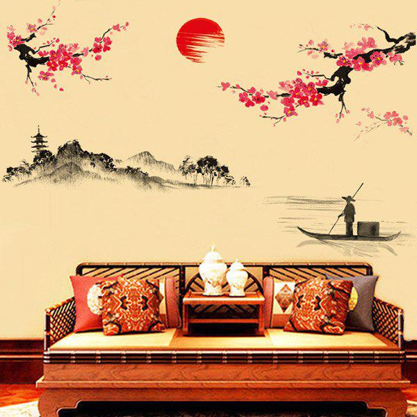 High Quality Plum Blossom Pattern Lake Landscape Removeable Wall Sticker