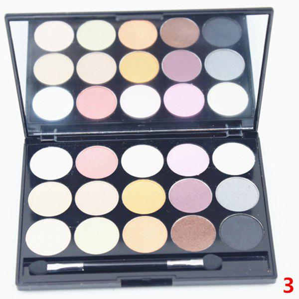 Cosmetic 15 Colours Bronzer Concealer Earth Tone Pearl Matte Eyeshadow Palette with Mirror and Brush - 3