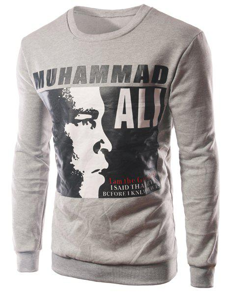 Slim Fit Letter Figure Printed Long Sleeves T-Shirt For Men - GRAY XL