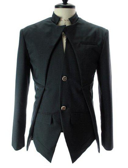 Stand Collar Splicing Design Faux Twinset Long Sleeve Men's Blazer - BLACK M