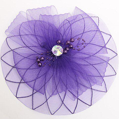 Chic Beaded and Rhinestone Embellished Mesh Yarn Hairpin For Women - DEEP PURPLE
