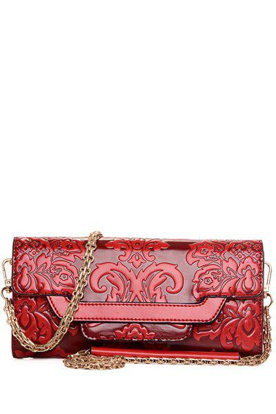 Ethnic Style Chains and Embossing Design Crossbody Bag For Women - RED