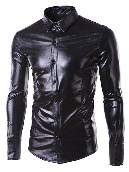 Slim Fit Single Breasted Glossy Coating Turn Down Collar Shirt For Men - BLACK L