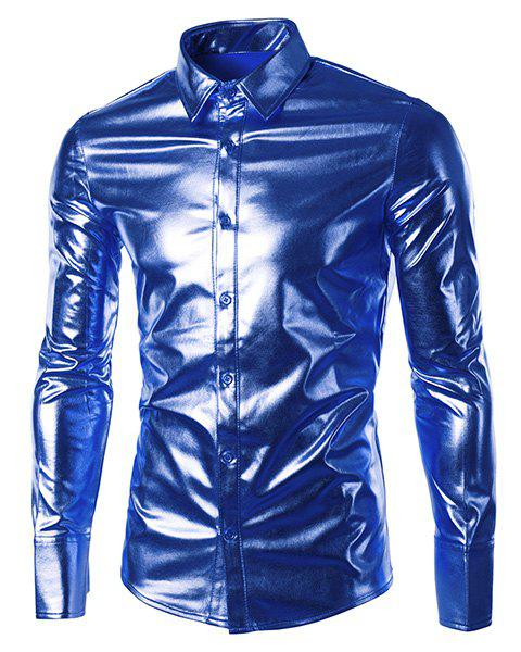 Slim Fit Single Breasted Glossy Coating Turn Down Collar Shirt For Men - SAPPHIRE BLUE M