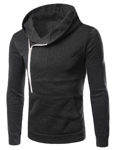 Zipper Design Hooded Long Sleeve Long Sleeve Men's Hoodie - DEEP GRAY XL