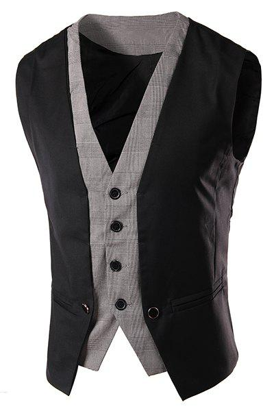 Slimming Single Breasted V-Neck Color Block Waistcoat For Men