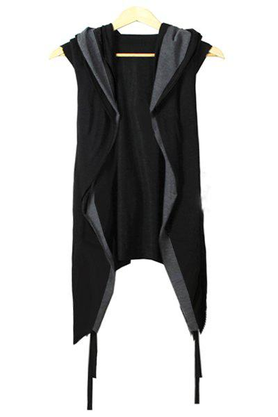 Faux Twinset Irregular Hem Color Block Hooded Sleeveless Men's Knitted Cardigan - BLACK L