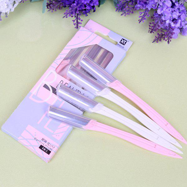 Cosmetic 4 Pcs Delicate Plastic Handle Sharp Eyebrow Trimmer - PINK/WHITE