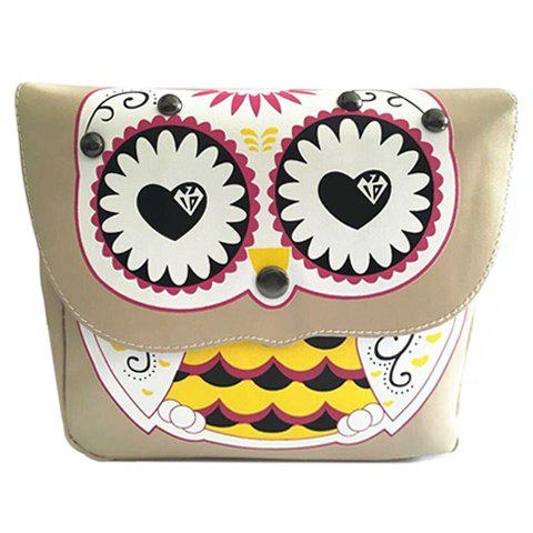 Cute Owl Print and Color Matching Design Women's Crossbody Bag - OFF WHITE