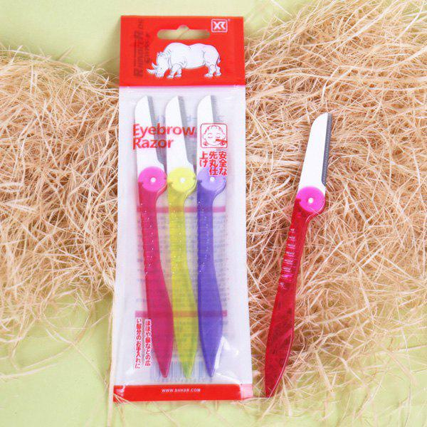 Cosmetic 3 Pcs Simple Folding Plastic Handle Stainless Steel Eyebrow Trimmer - COLORMIX