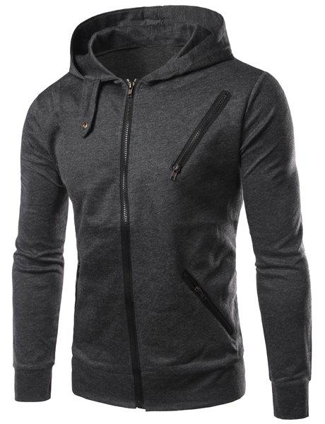 Zipper Design Hooded Long Sleeve Long Sleeve Solid Color Men's Hoodie - DEEP GRAY L