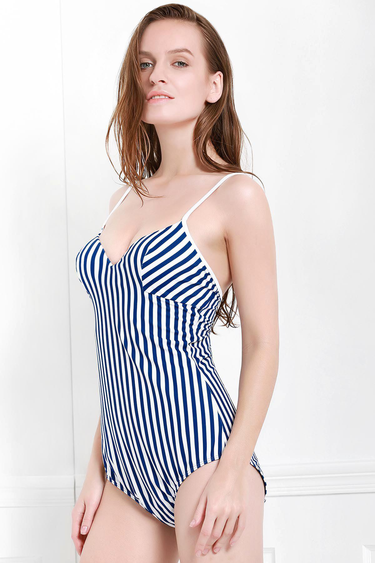 Фото Chic Spaghetti Strap Vertical Striped One-Piece Swimwear For Women sexy style spaghetti straps diamante one piece women s swimwear