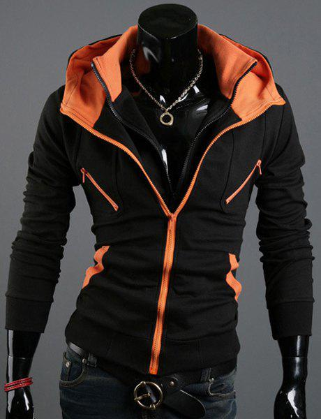 Zipper Design Hooded Long Sleeve Long Sleeve Color Block Men's Hoodie - BLACK M