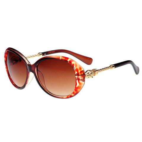 Chic Twill Alloy Splice Design Women's Leopard Sunglasses - TEA COLORED