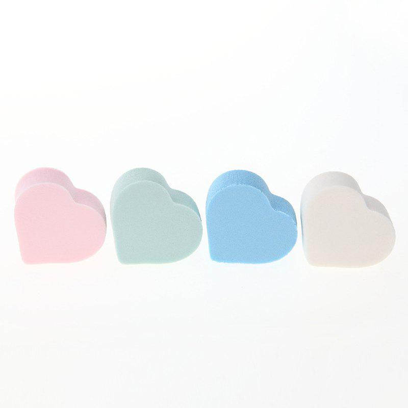 Cosmetic 4 Colours Dual-Use Heart Shape Water Swelling Polyurethane Powder Puff