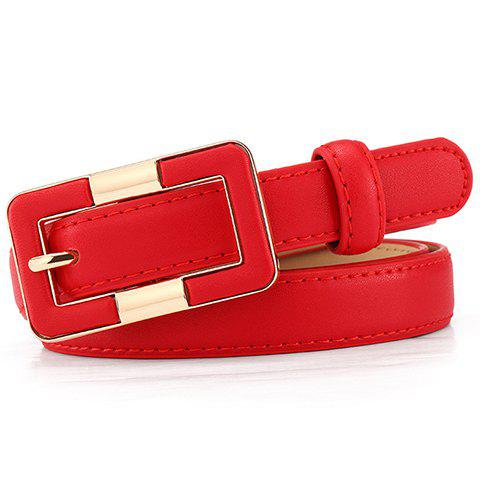 Chic Rectangle Pin Buckle Simple Wide Belt For Women - RED