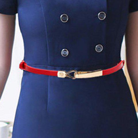 Chic Alloy Hasp Patent Leather Slender Belt For Women - RED