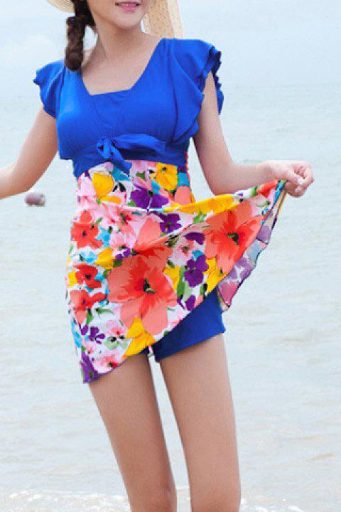 Refreshing Square Neck Butterfly Sleeve Floral Print One-Piece Women's Swimwear - BRIGHT BLUE 4XL