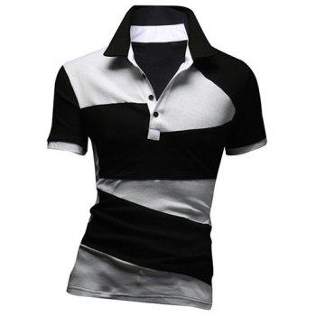 Fashion Turn-down Collar Color Lump Splicing Short Sleeves Men's Polo T-Shirt