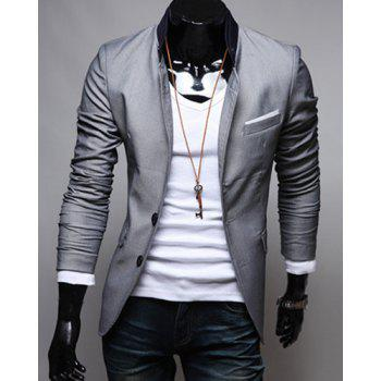 Single-Breasted Color Block Patch Pocket Lapel Long Sleeves Men's Blazer