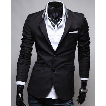 Blazer de single-breasted Color Block Patch Pocket revers manches longues hommes